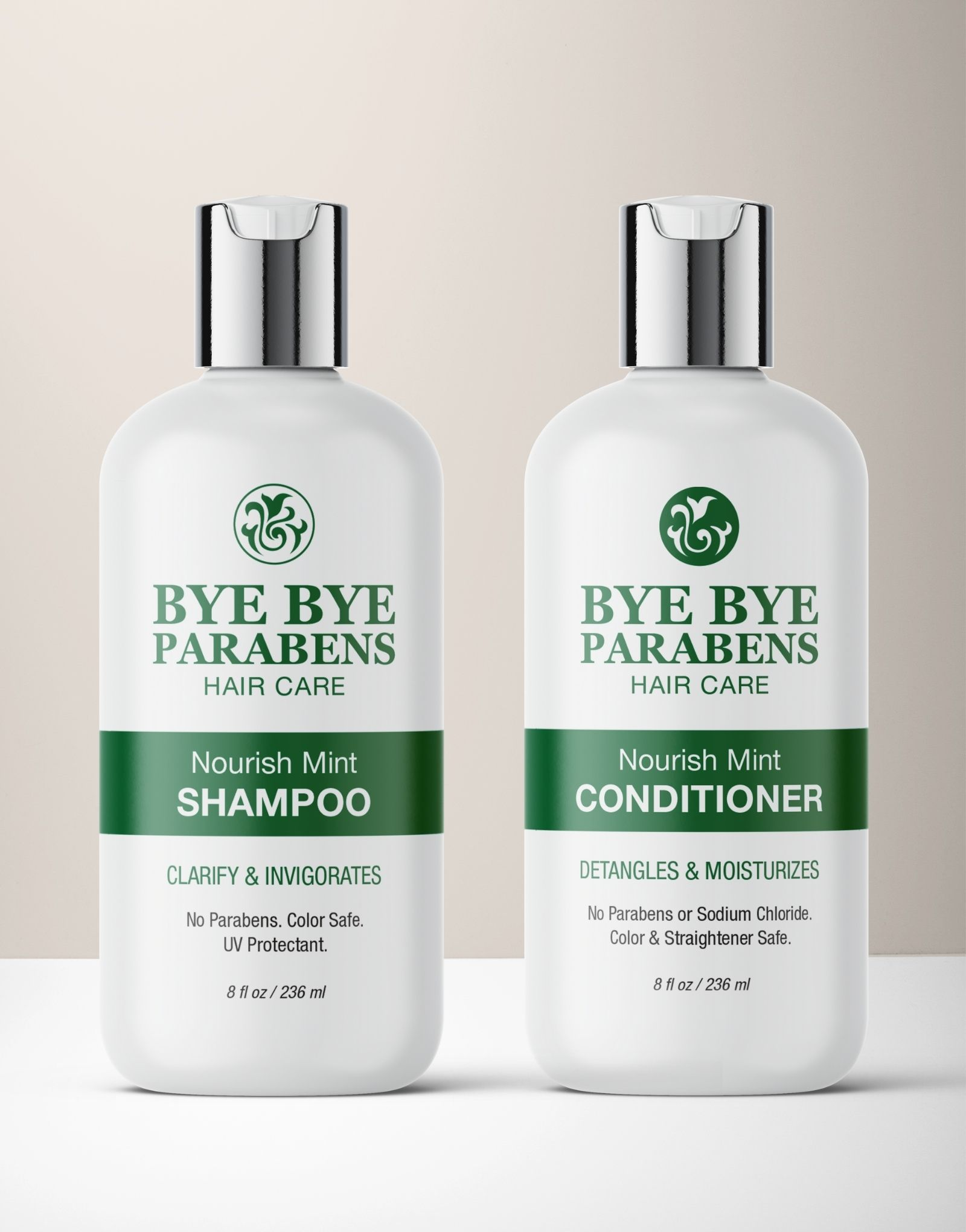 Nourish Mint Shampoo Conditioner hair products for curly hair | Bye Bye Parabens