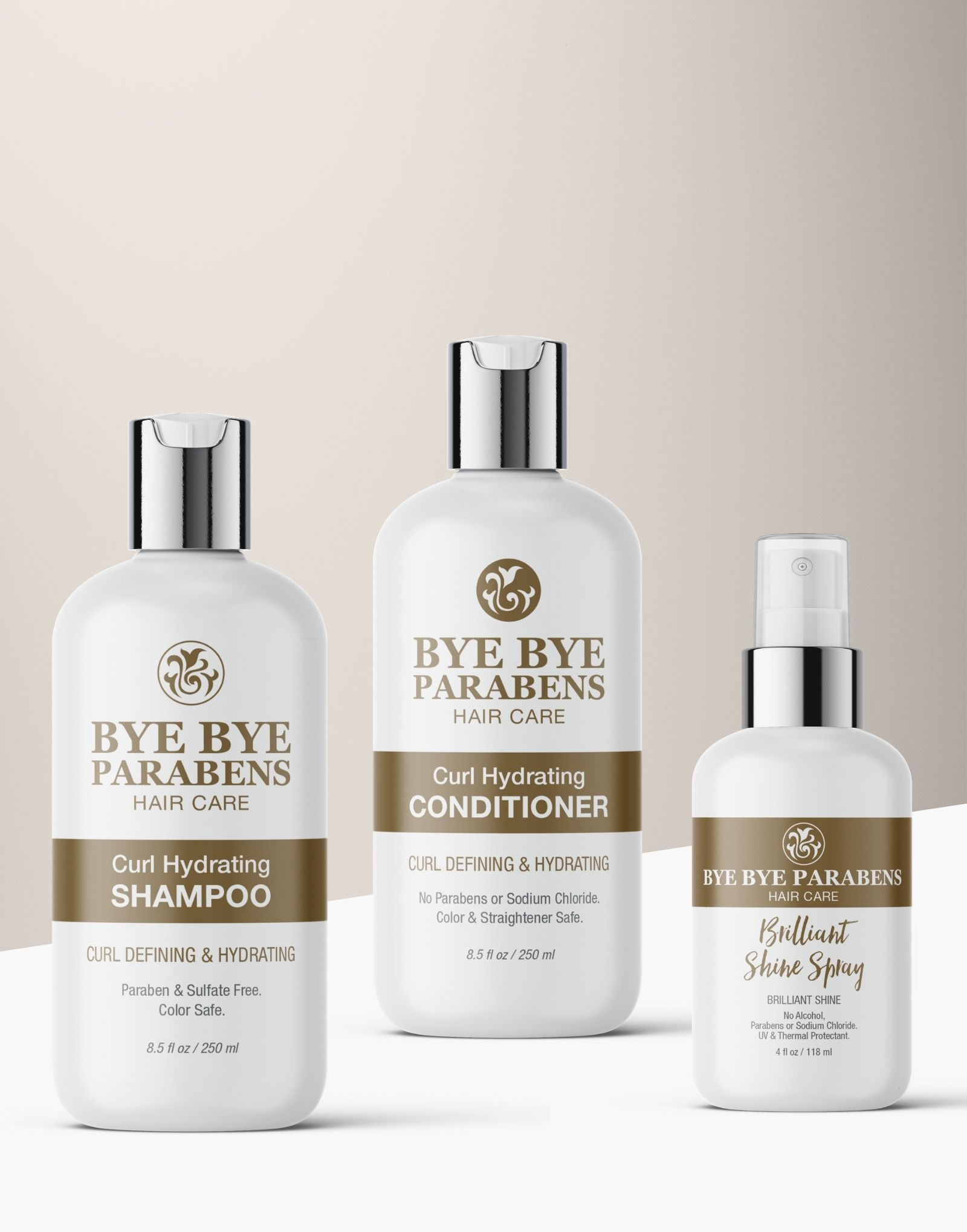 Curl Quencher Set Shampoo Conditioner Shine Hair Spray for curly hair | Bye Bye Parabens